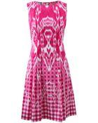 Oscar de la Renta Gingham Ikat Drop Waist Dress - Lyst