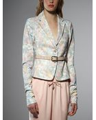 Patrizia Pepe Short Belted Jacket In Patterned Cotton - Lyst