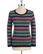 Jones New York Striped Crewneck Sweater - Lyst