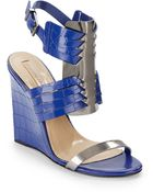 BCBGMAXAZRIA Croco-Embossed Leather Wedge Sandals - Lyst
