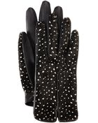 Lanvin Spotted Calf Hair Leather Gloves - Lyst