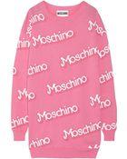 Moschino Intarsia Cotton Mini Dress - Lyst