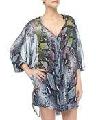 Diane von Furstenberg Fleurette Pythonprint Chiffon Dress Multi - Lyst