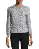 Michael Kors Tweed Collarless 3/4-Sleeve Jacket - Lyst