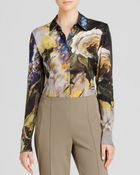 Escada Blouse Fantasy Rose Print Long Sleeve Silk - Lyst