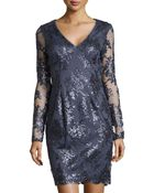 Adrianna Papell Sequined Lace Cocktail Dress - Lyst