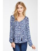Love 21 Abstract Print Peasant Top - Lyst