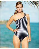 Michael Kors Michael Striped One-Shoulder One-Piece Swimsuit - Lyst