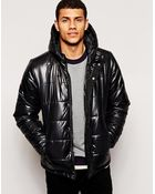 Bellfield Padded Jacket With Hood In Wet Look - Lyst