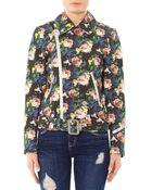 MSGM Floral-Print Cotton Biker Jacket - Lyst
