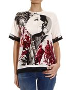 Roberto Cavalli Top Half Sleeve Crew-Neck Silk Printed - Lyst