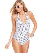DKNY Dot-Print Halter One-Piece Swimsuit - Lyst