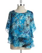Alex Evenings Plus Tiered Blouse - Lyst