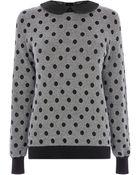 Oasis Spot Collar Cotton Top - Lyst