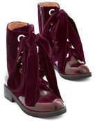 Jeffrey Campbell Velvet Wonder-Bound Boot In Burgundy - Lyst