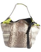Jimmy Choo Brown And Lime Lizard Embossed Leather Shoulder Bag - Lyst
