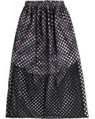 Carven Midi Skirt With Perforated Overlay - Lyst