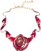 Oscar de la Renta Hand-painted Enamel Rose Necklace - Lyst