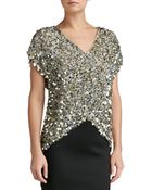 St. John All-Over Sequin V-Neck Cap Sleeve Top - Lyst