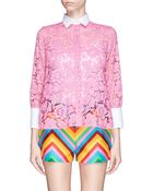 Valentino Guipure Lace Cotton Poplin Collar Shirt - Lyst