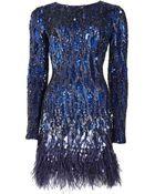 Matthew Williamson Liquid Sequin Feather Trimmed Mini Dress - Lyst