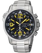 Seiko Men'S Chronograph Solar Stainless Steel Bracelet Watch 42Mm Ssc093 - Lyst
