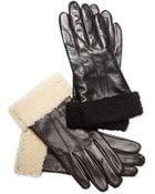 Lauren by Ralph Lauren Shearling Cuff Leather Gloves - Lyst