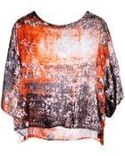 MSGM Silk Orange Splatter Top - Lyst