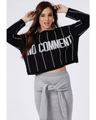 Missguided No Comment Stripe Oversized Knitted Slogan Jumper Black And Cream - Lyst