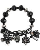 Betsey Johnson Skull And Butterfly Stretch Charm Bracelet - Lyst