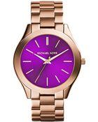 Michael Kors Women'S Slim Runway Rose Gold-Tone Stainless Steel Bracelet Watch 42Mm Mk3293 - Lyst