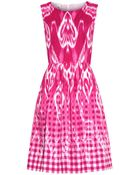 Oscar de la Renta Ikat And Gingham-Print Dress - Lyst
