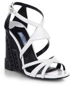 Prada Leather Perforated Wedge Sandals - Lyst