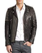 Diesel Black Gold Studded Leather Biker Jacket - Lyst