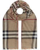 Burberry Check Wool Silk Scarf - Lyst