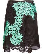 3.1 Phillip Lim Satin & Floral Lace Skirt - Lyst