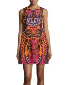 McQ by Alexander McQueen Abstract-Print Fold-Pleated Dress - Lyst