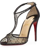 Christian Louboutin Tiny Chantilly Lace T-Strap Red Sole Sandal - Lyst