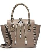 Michael Kors Miranda Extra-Small Python Trimmed-Leather Tote - Lyst