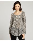 Love Sam Black And Beige Paisley Scoop Neck Blouse - Lyst