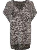 River Island  Slub Knit Oversized Short Sleeve Sweater - Lyst