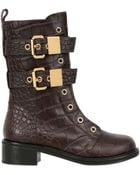 Giuseppe Zanotti 40Mm Croc Embossed Leather Combat Boots - Lyst