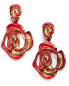 Oscar de la Renta Hand Painted Rose Clip On Earrings - Lyst