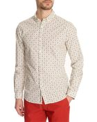 Knowledge Cotton Apparel Owl Printed Ecru Shirt - Lyst