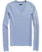 Tommy Hilfiger Classic V-Neck Cable Knit Sweater - Lyst