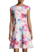 Chetta B Floral-Print Fit-And-Flare Cap-Sleeve Dress - Lyst