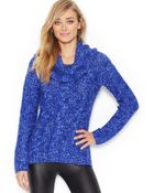 Kensie Long-Sleeve Cowl-Neck Cable-Knit Sweater (Only At Macy'S) - Lyst