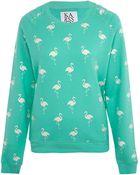 Zoe Karssen Green Glitter Flamingo Print Sweatshirt - Lyst