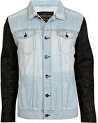 River Island Light Wash Leather Look Sleeve Denim Jacket - Lyst