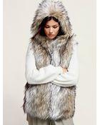 Free People Faux Fur Hooded Vest - Lyst